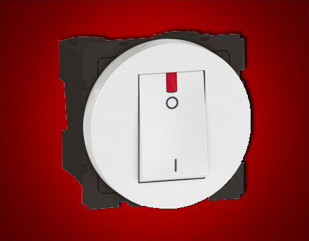 Arteor - Double pole switch with indicator 1-way Red indicator supplied