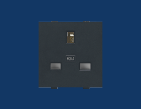 Roma Black, 13A, Flat Pin English Socket